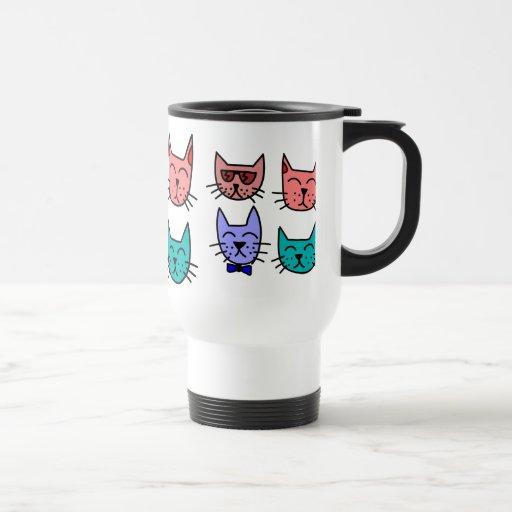 Caras divertidas coloridas del gato del dibujo taza de viaje