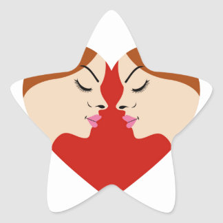 caras en corazón rojo calcomania forma de estrella personalizada