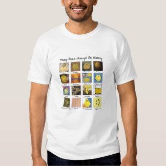 caras felices a través de la camisa de la historia