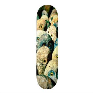 Caras frescas del búho de la piedra de la roca con monopatin