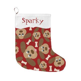 Caras lindas del perro personalizadas calcetín navideño grande