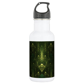 Caras oscuras del verde esmeralda. Fractal Art. Botella De Agua
