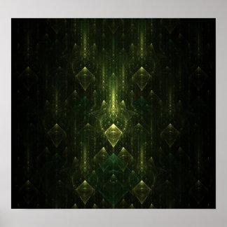 Caras oscuras del verde esmeralda. Fractal Art. Impresiones