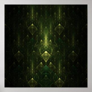Caras oscuras del verde esmeralda. Fractal Art. Posters