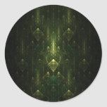 Caras oscuras del verde esmeralda. Fractal Art. Pegatina Redonda