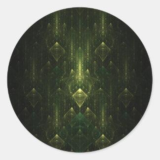 Caras oscuras del verde esmeralda Fractal Art Pegatina