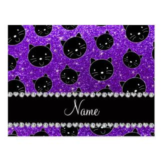 Caras púrpuras del gato negro del brillo del añil postales