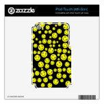 Caras sonrientes amarillas en negro calcomanías para iPod touch 4G
