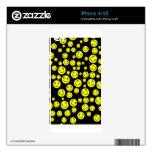 Caras sonrientes amarillas en negro skins para eliPhone 4S