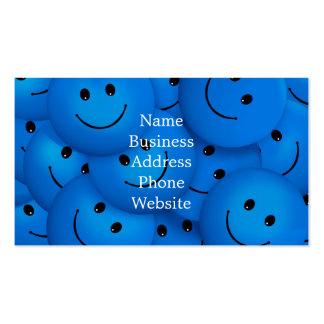Caras sonrientes azules felices frescas de la tarjetas de visita