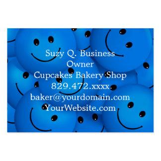 Caras sonrientes azules felices frescas de la tarjetas de visita grandes