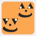 Caras sonrientes de la calabaza de Halloween Colcomanias Cuadradass