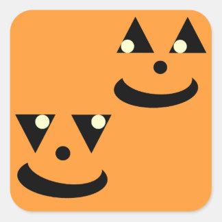 Caras sonrientes de la calabaza de Halloween Colcomanias Cuadradas