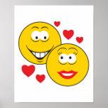 Caras sonrientes en tarjeta del día de San Valentí Poster