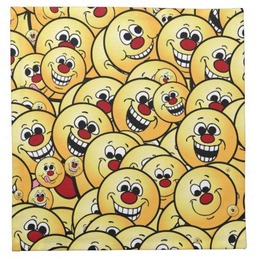 Caras sonrientes felices de Grumpeys fijadas Servilleta Imprimida