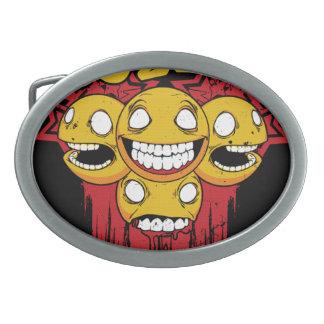 Caras sonrientes hebilla cinturón oval