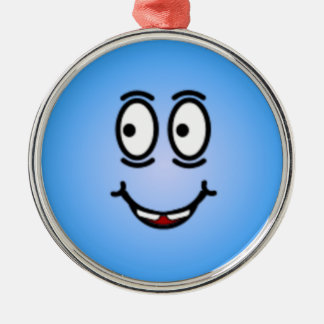 Caras sonrientes tontas de lujo adorno navideño redondo de metal