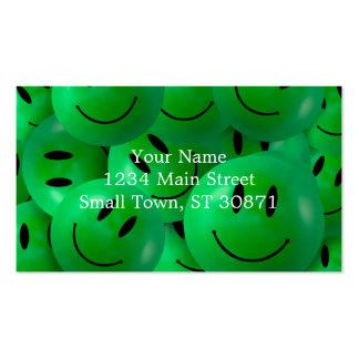 Caras sonrientes verdes felices frescas de la tarjetas de visita