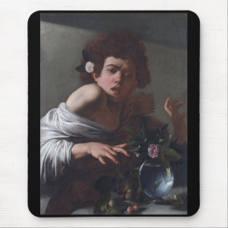 Caravaggio and a boy bitten by a lizard mouse pad