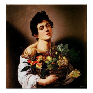 Caravaggio Boy With a Basket of Fruit Poster
