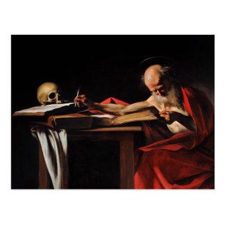 Caravaggio - escritura de Jerome del santo Postal