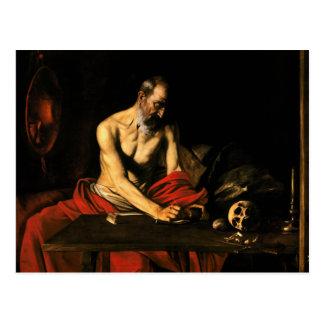 Caravaggio - escritura de Jerome del santo Postales