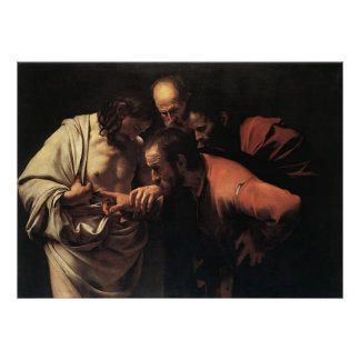 Caravaggio la incredulidad Santo Tomás Póster