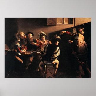 Caravaggio la llamada de St Matthew Póster
