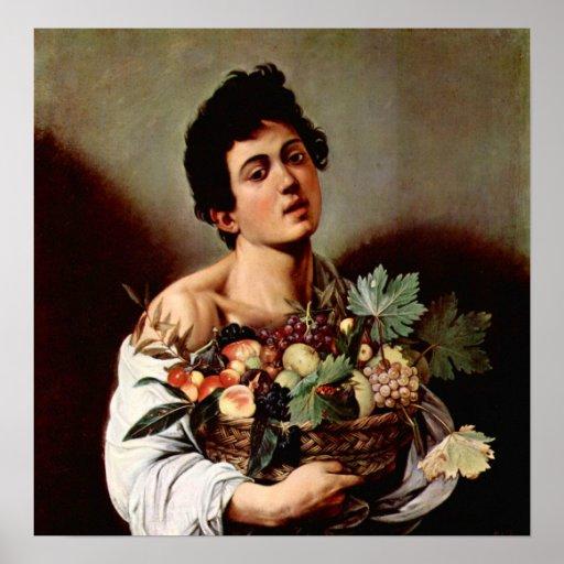 Caravaggio-Muchacho con la cesta de fruta Póster