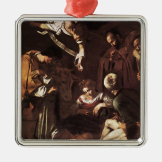 Caravaggio -Nativity with St Francis & St Lawrence Metal Ornament