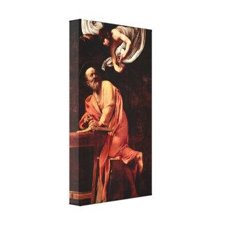 Caravaggio - St Matthew y el ángel Impresion En Lona