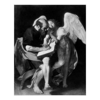 Caravaggio St Matthew y el ángel Póster