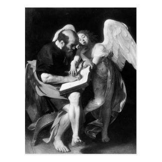 Caravaggio- St Matthew y el ángel Postal