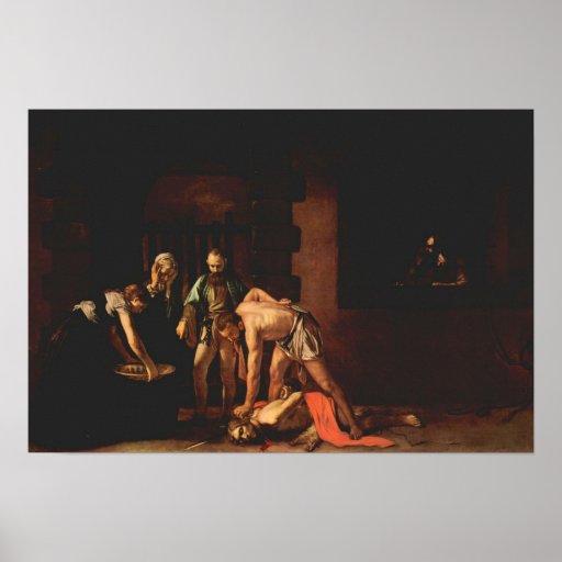 Caravaggio-The beheading of John the Baptist Poster