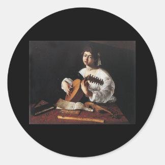 Caravaggio The Lute Player Round Stickers