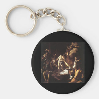 Caravaggio The Martyrdom Of St Matthew Basic Round Button Keychain