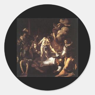 Caravaggio The Martyrdom Of St Matthew Round Sticker