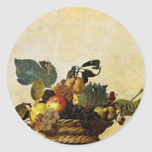 Caravaggio's Basket of Fruit Classic Round Sticker