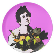 Caravaggio's Boy with Fruit Basket - Pop Art Style Dinner Plate