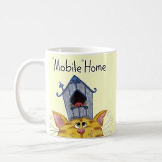 Caravana de la casa del gato y del pájaro taza de café