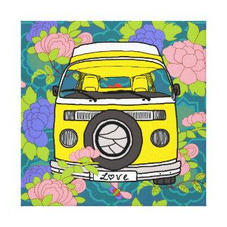 Caravana del campista del amor impresión en lienzo estirada