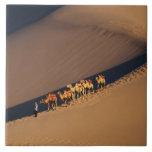 Caravana en el desierto, Dunhuang, Gansu del camel Azulejo Cuadrado Grande