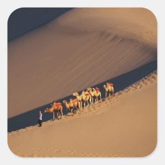 Caravana en el desierto, Dunhuang, Gansu del Pegatina Cuadrada
