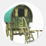 Caravana gitana del bowtop etiquetas redondas
