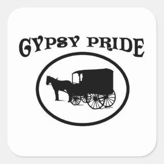 Caravana negra y blanca del orgullo gitano colcomanias cuadradas