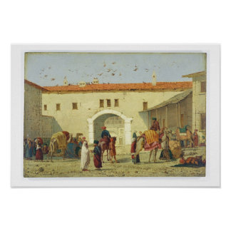 Caravanserai at Mylasa, Turkey, 1845 (oil on panel Poster