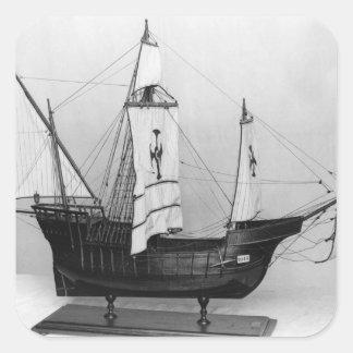 Caravel de Cristóbal Colón Pegatina Cuadrada