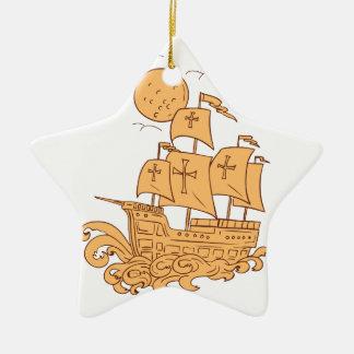Caravel Sailing Ship Moon Drawing Ceramic Ornament