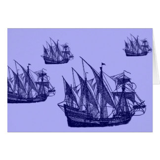 Caravels greeting card blue