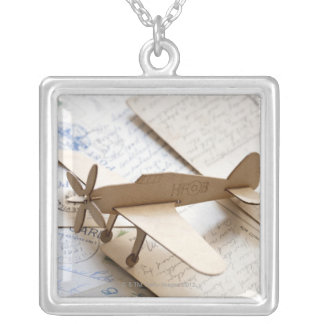 Carboard airplane on postcards square pendant necklace